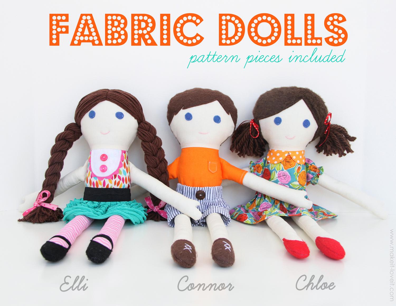 2 diy fabric dolls