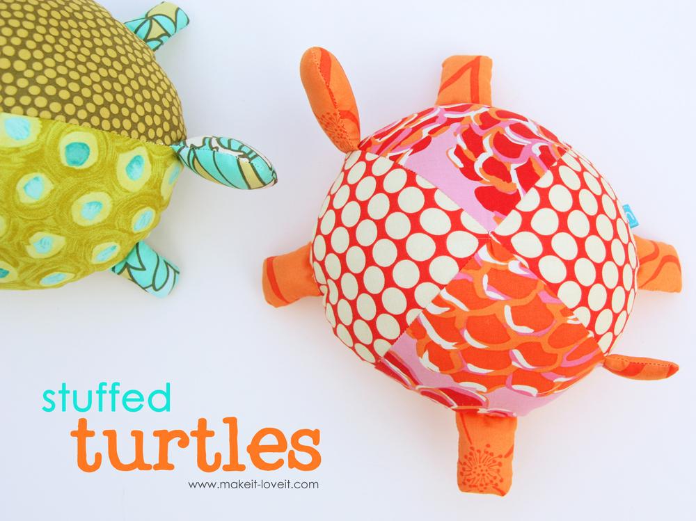 7 fabric stuffed turtles