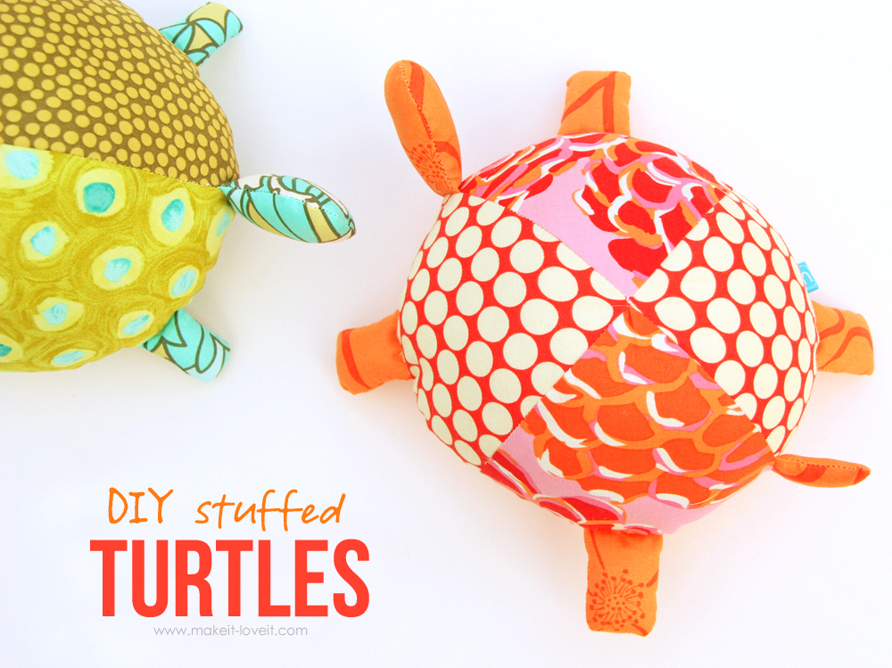 DIY Stuffed Fabric Turtles...pattern pieces included | via Make It and Love It