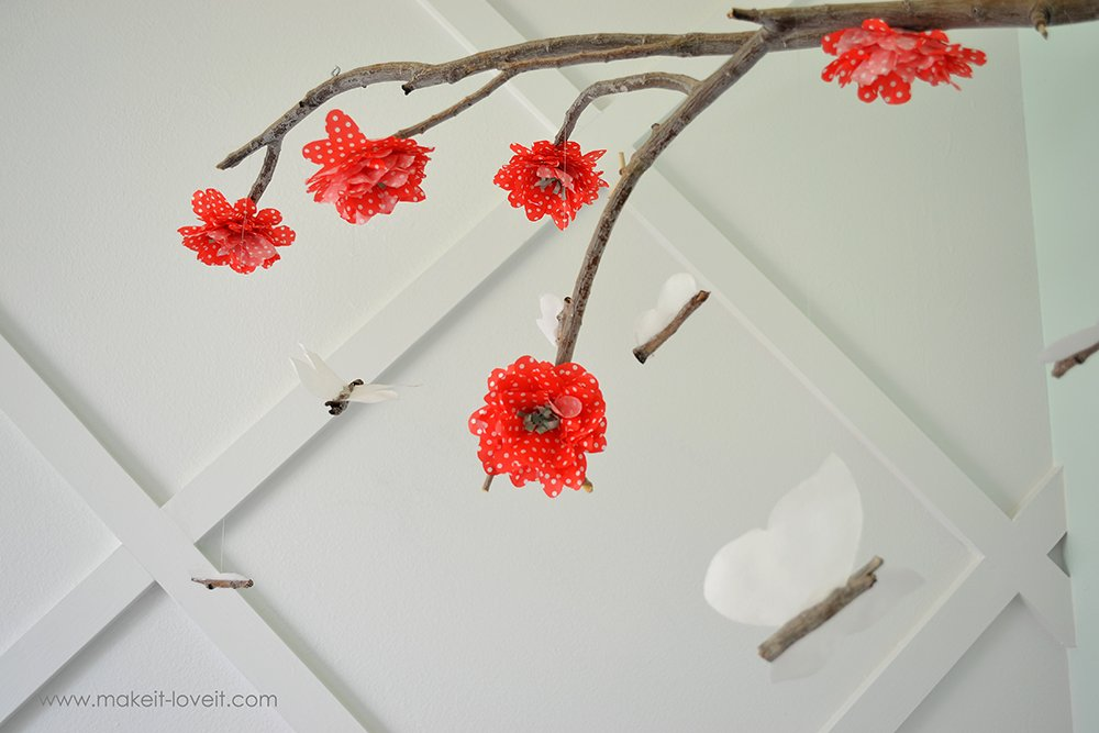DIY Baby Mobile From a Branch   via Make It and Love It