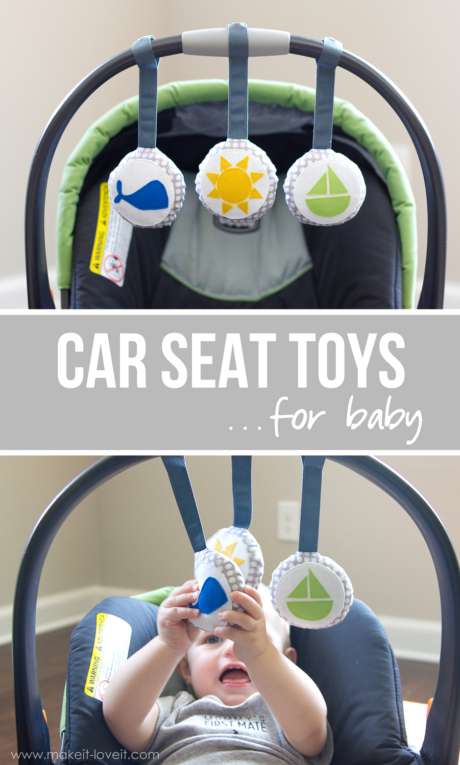 DIY Car Seat Toys...for baby! | via Make It and Love It