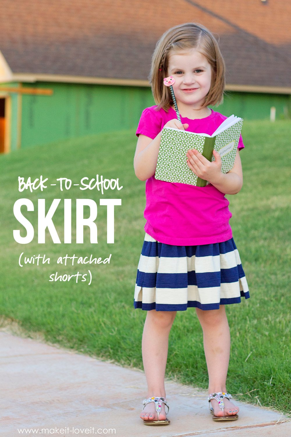 Back-to-School Skirt with Attached Shorts (...the CHEATER method)   via Make It and Love It