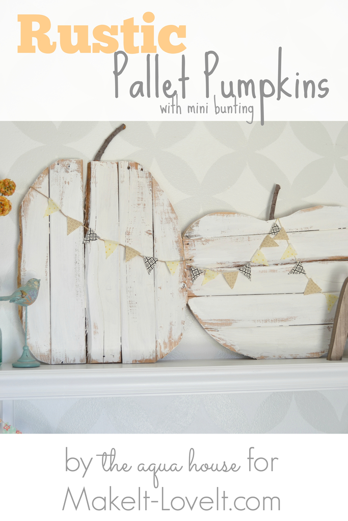 DIY Rustic Pallet Pumpkins...with mini bunting  via Make It and Love It