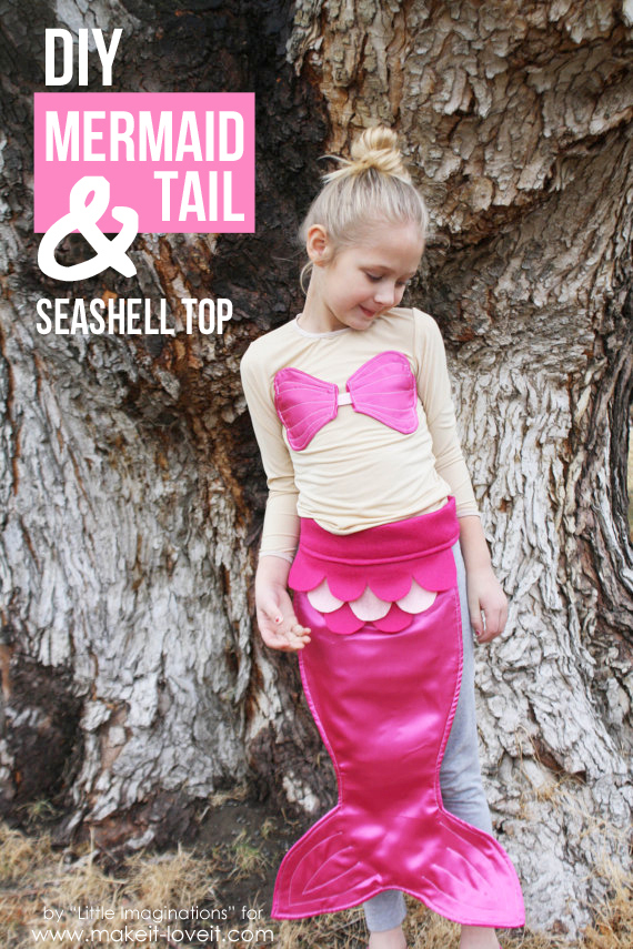 DIY Mermaid Tail and Seashell Top...great for a costume or dress-up!   via Make It and Love It