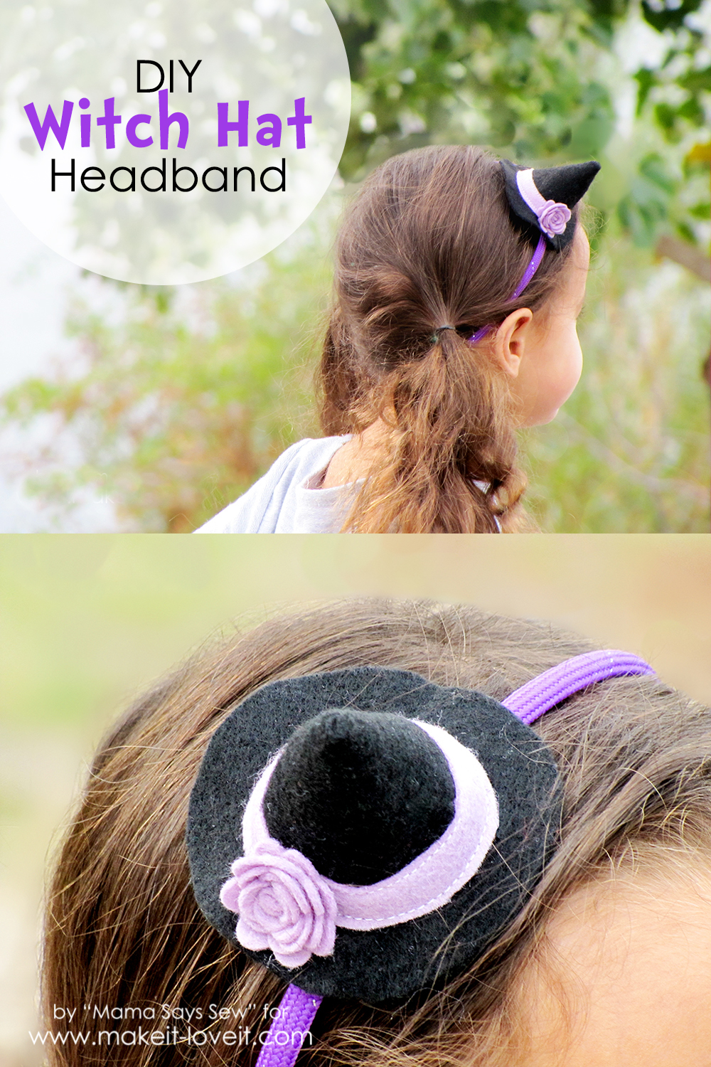 DIY Witch Hat Headband....a great last minute costume!   via Make It and Love It