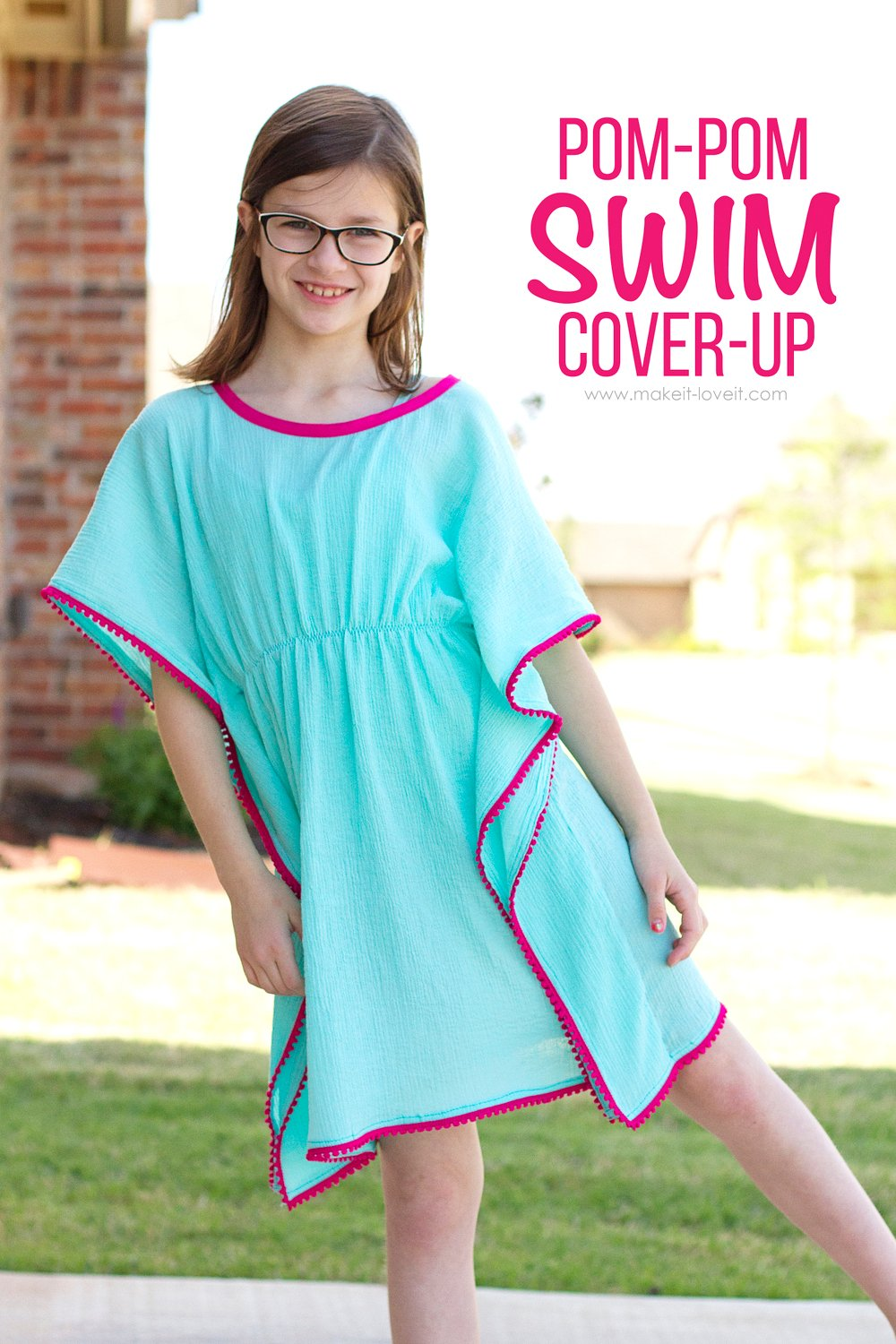 DIY Pom-Pom Swim Cover-Up.....a simple sew, for girls and women both!   via Make It and Love It