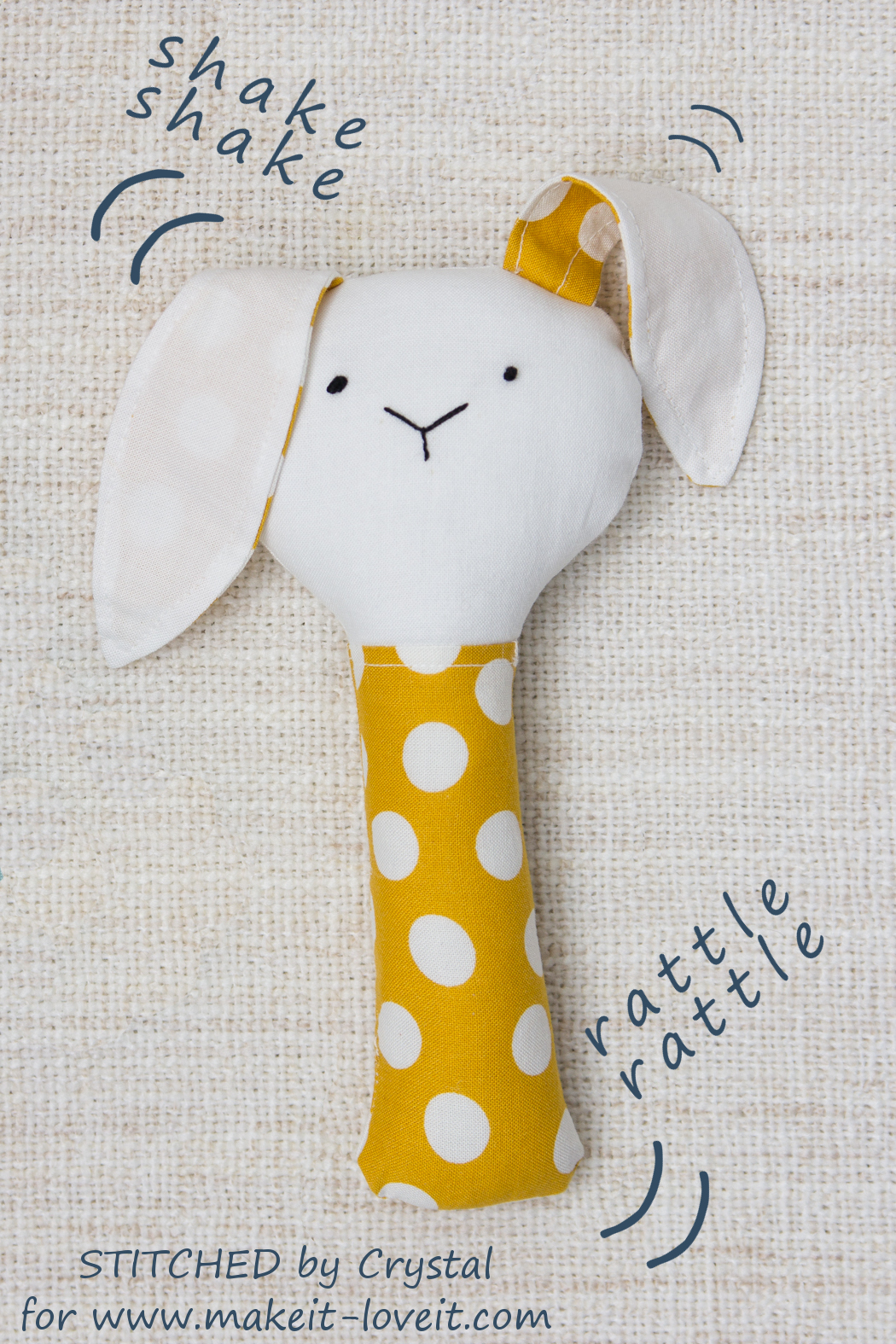 Sew a Plush Rattle for Baby (...bunny, cat, & mouse)! | via makeit-loveit.com