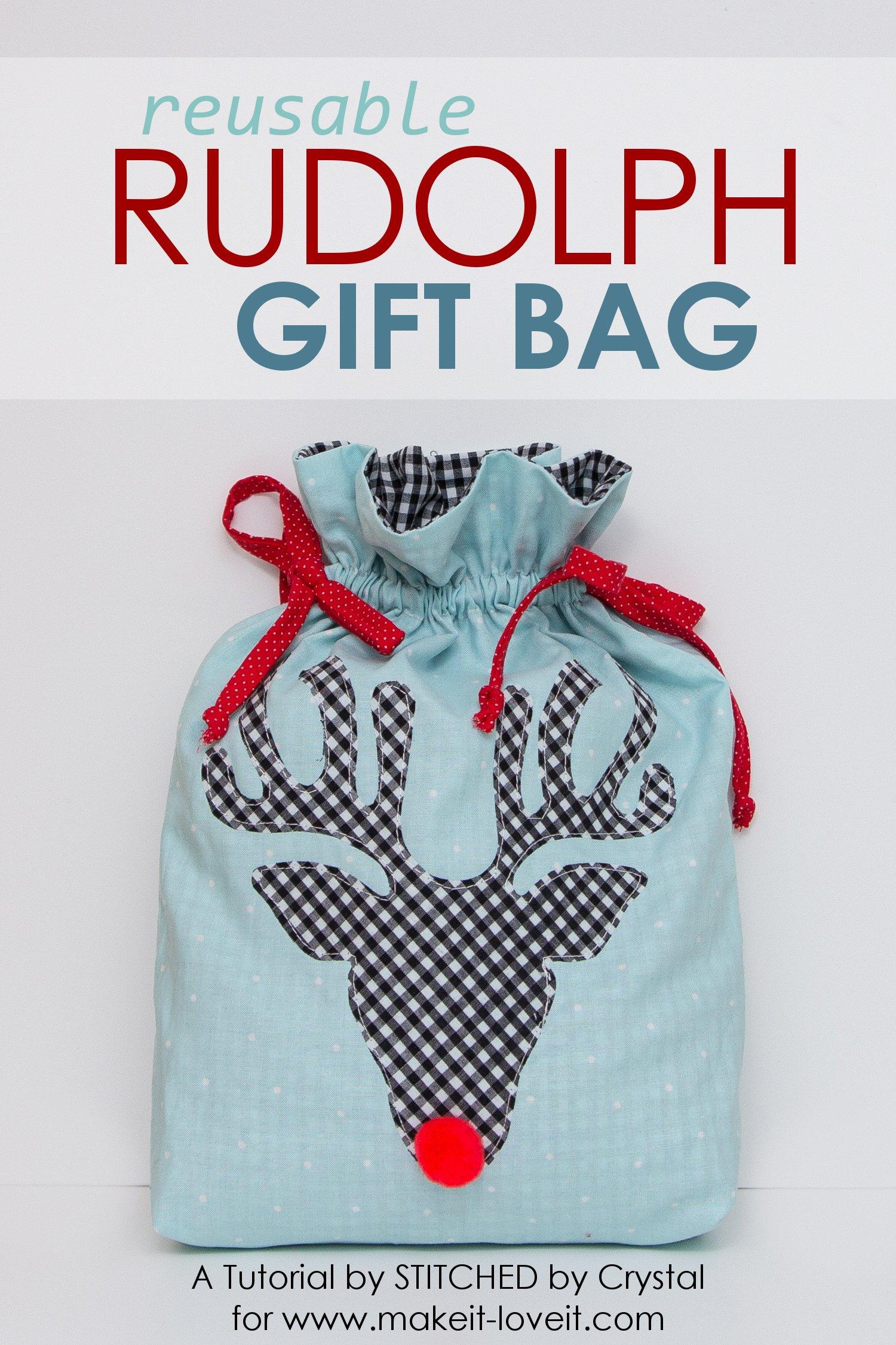 Sew a Reusable Rudolph Gift Bag! | via makeit-loveit.com